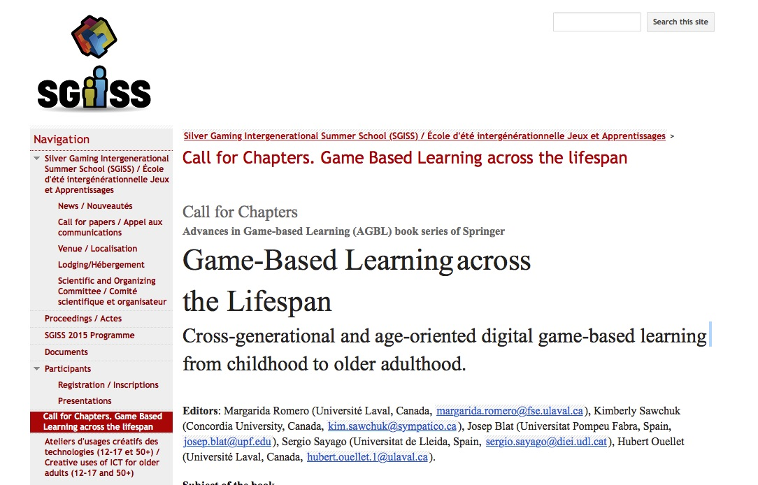 Call for Chapters: Game-Based Learning across the Lifespan