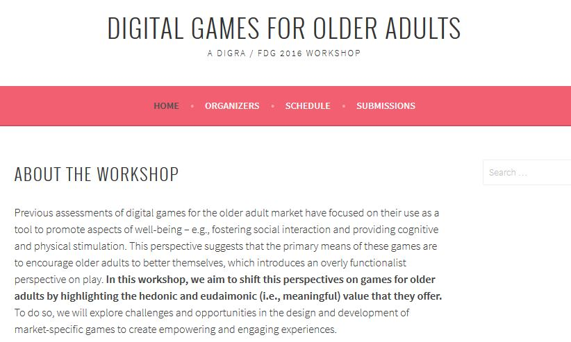 Call for Papers: Digital Games for Older Adults Workshop